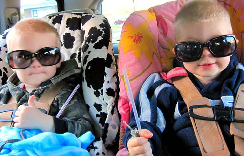 Casey and Jonathan with Mommy's Sunglasses