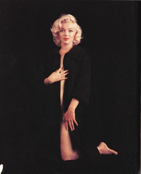 Marilyn Monroe, black cardigan coat, Milton Greene
