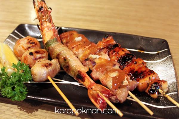Kushiyaki: Tomato Maki, Ebi Shiso Maki, Buta Bara Yaki Miso, Black Pepper Yakitori
