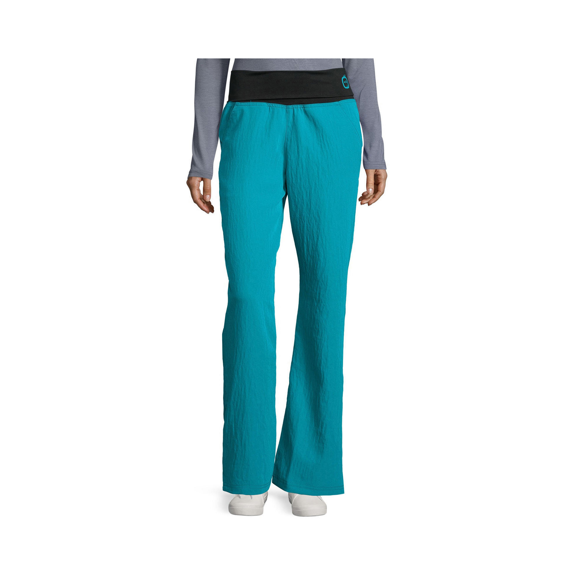 WonderWink Womens Four-Stretch Foldover Knit Waist Pants - Plus