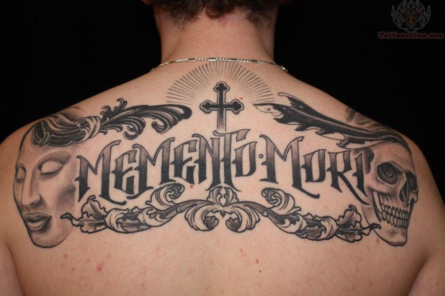 Skull Cross Upper Back Lettering Tattoo Tattoomagz
