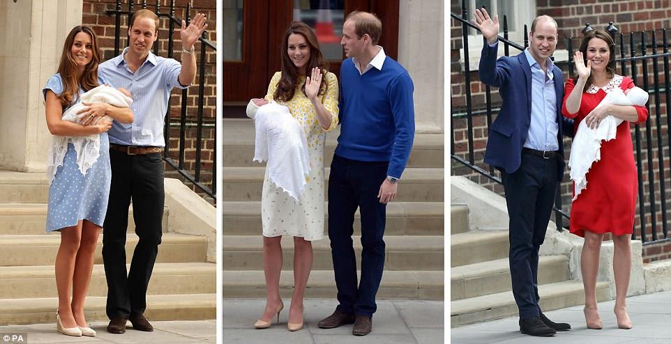 El Príncipe Guillermo y la Duquesa de Cambridge posaron frente al Lindo Wing con el Príncipe Jorge el 23 de julio de 2013 (izquierda), la Princesa Charlotte el 2 de mayo de 2015 (centro) y el nuevo Príncipe hoy (derecha)