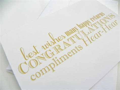 Congratulations Wedding Card Typography Gold and White