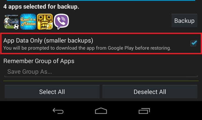"""Marque a opção """"App Data Only"""" para salvar somente os arquivos dos aplicativos (Foto: Reprodução/ Lucas Torres) (Foto: Reprodução/ Lucas Torres)"""