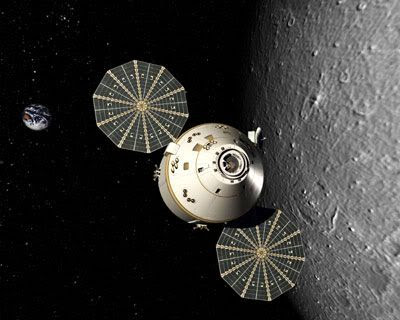 An artist's concept of the ORION spacecraft in lunar orbit.
