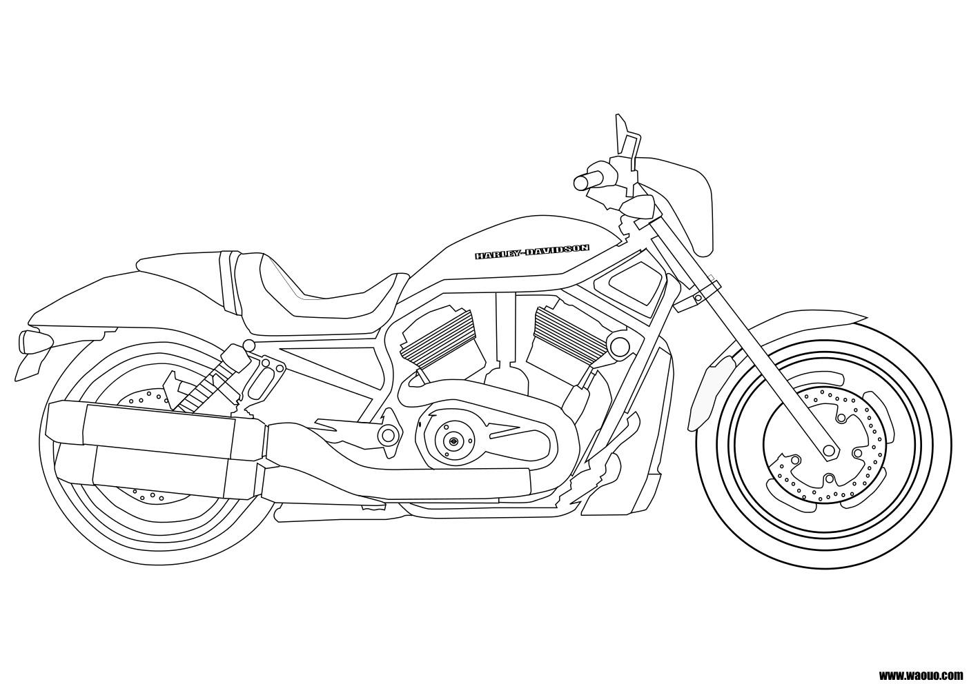 Coloriage moto Harley Davidson  imprimer et colorier