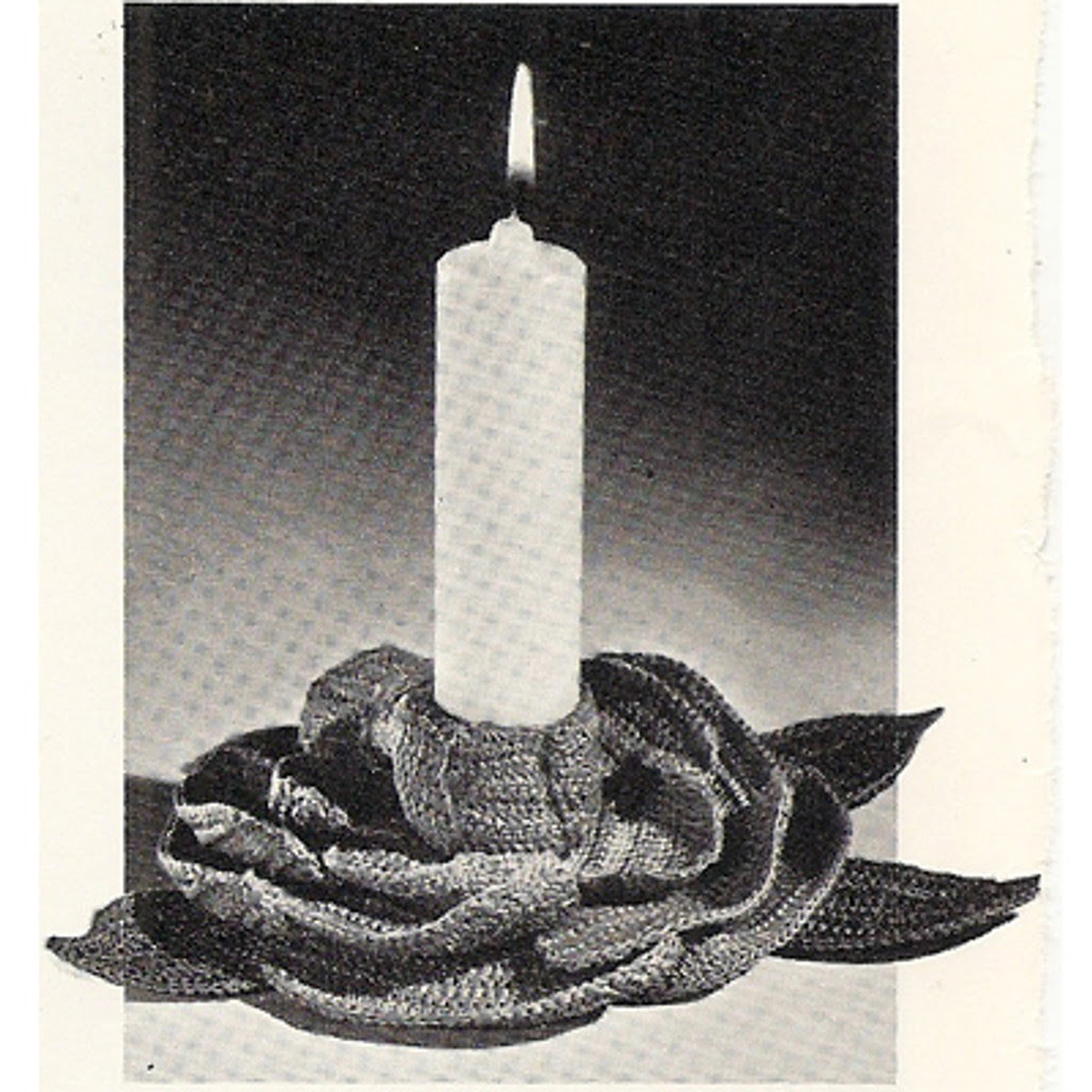 Crochet Candle Holder Pattern, Camellia Flower Shape