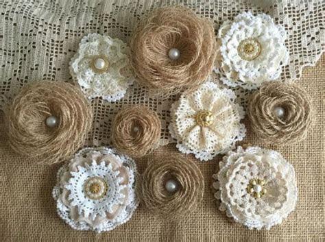 10 Rustic Lace And Burlap Handmade Flowers   Wedding Cake