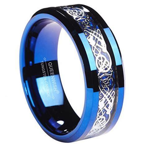8MM Blue Tungsten Carbide Ring Celtic Dragon Blue Carbon
