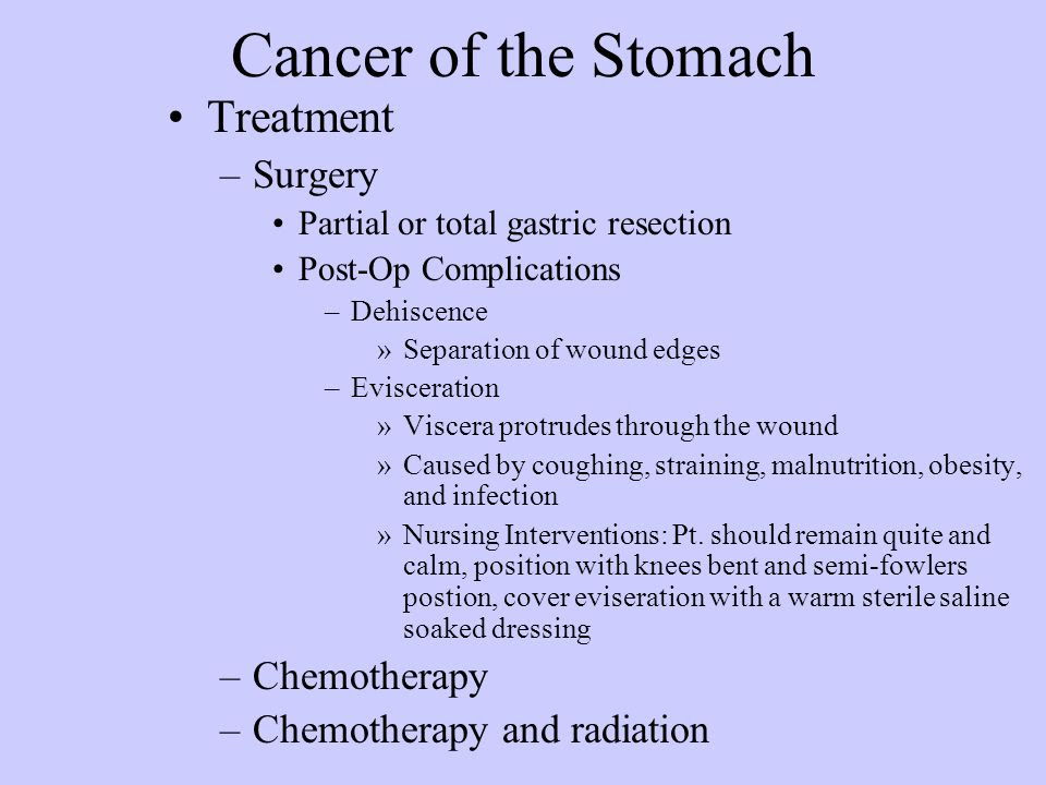 complications of stomach cancer Stomach Cancer Surgery Complications