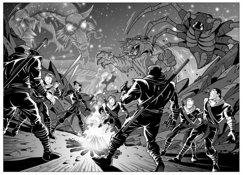 Tales of the TMNT v.2 # 44//.. greytones .. illustration by Dario Brizuela (( 2008 ))