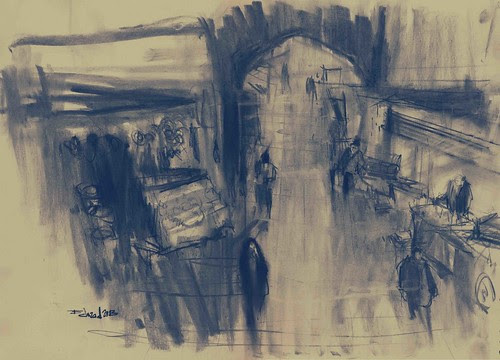 Isfahan Bazaar- View from the roof2 by Behzad Bagheri Sketches