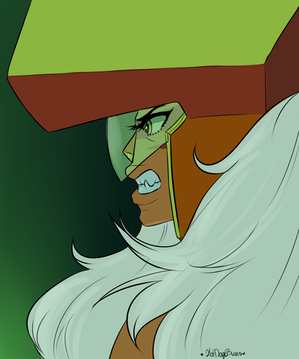 messy lazy cool down drawing of my wife I hope she comes back soon. I played with colours from the ep on jasper and peris ship, this is based on an expression during her fight with garnet