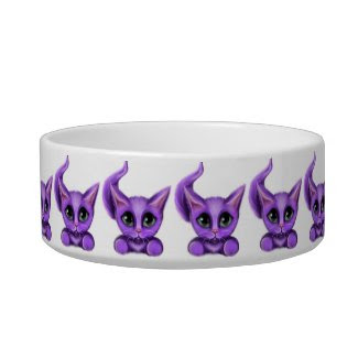 Purple Kitty Medium Pet Bowl