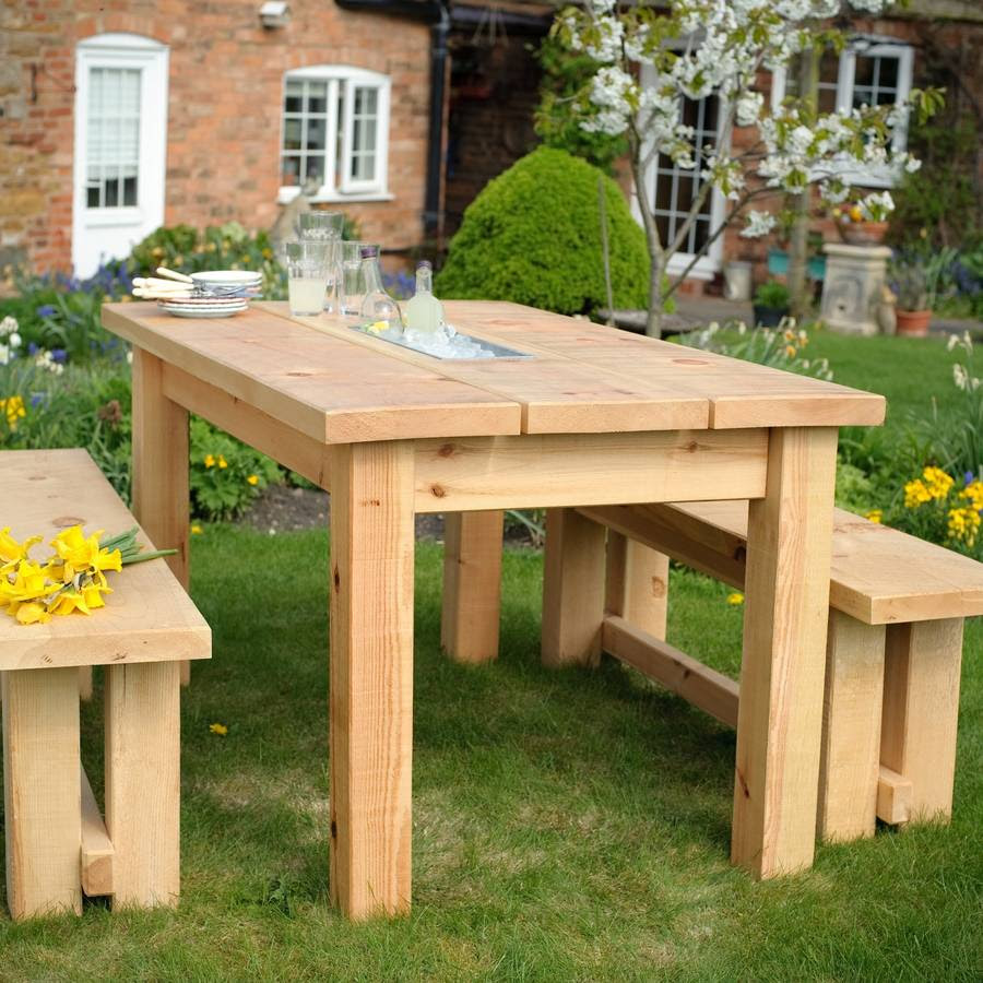 chunky wood planter/drinks dining table and benches set by ...