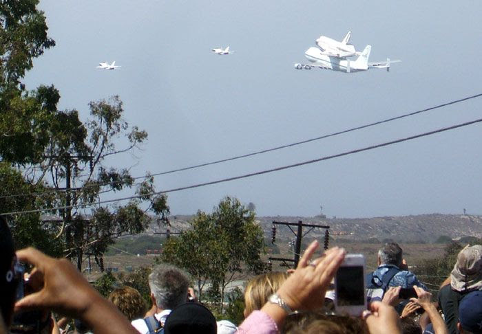A photo I took of Endeavour and NASA 905 performing a flyover of Los Angeles International Airport (LAX) on September 21, 2012.
