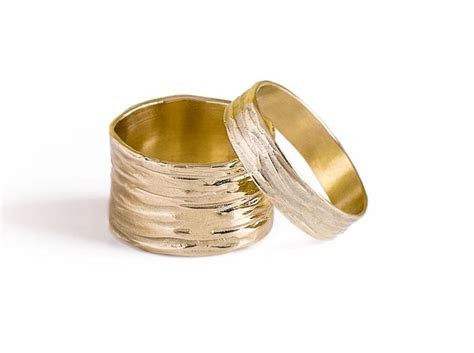 Wedding Band Sets,14K Solid Gold Wide Wedding Band Sets
