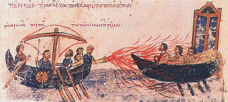 le feu Gregeois, arme supreme de la flotte de Byzance, enluminure