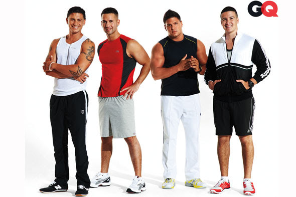The guys of Jersey Shore GQ October cover before shot