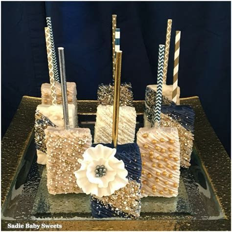 Sophisticated navy and gold chocolate dipped Rice Krispies