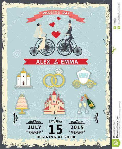 Wedding Invitation With Cartoon Icons,groom And Bride