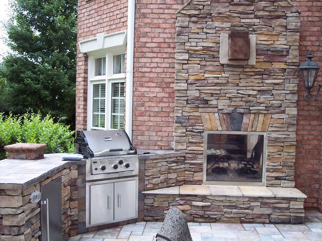 Indoor/Outdoor fireplace - traditional - patio - charlotte - by ...