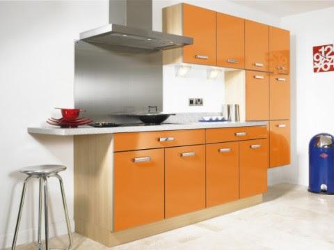 Modernas y sofisticadas cocinas en color naranja-12