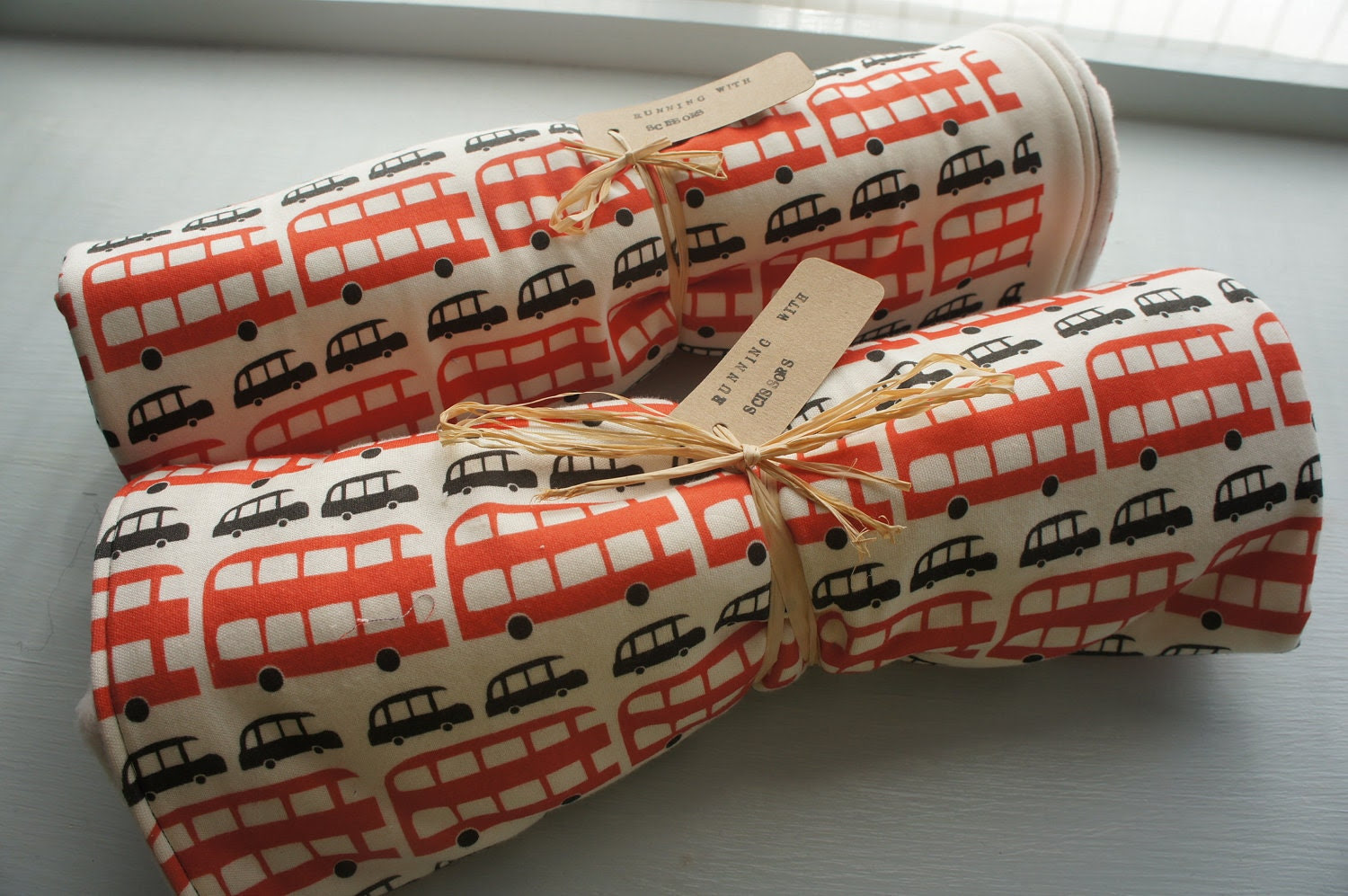 Organic Baby Blanket: London Buses & Taxis Double Sided Organic Cotton and Poly fleece Blanket.