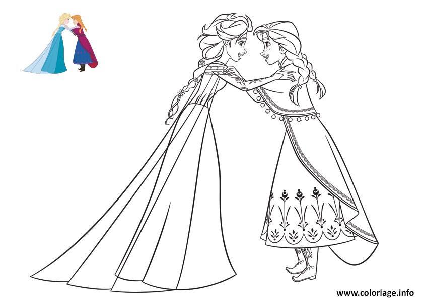 Coloriage Anna Confie Un Secret A Elsa Reine Des Neiges Jecoloriecom