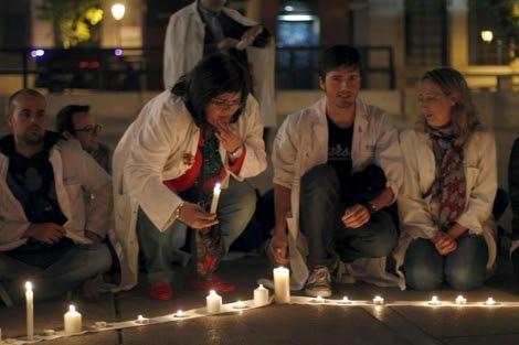 Vigilia contra la privatización sanitaria celebrada esta semana. | Barbancho