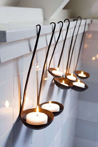 Upcycled Ladle Candle Holders by seasons.nl #Ladle #Candle_Holder #seasons_nl