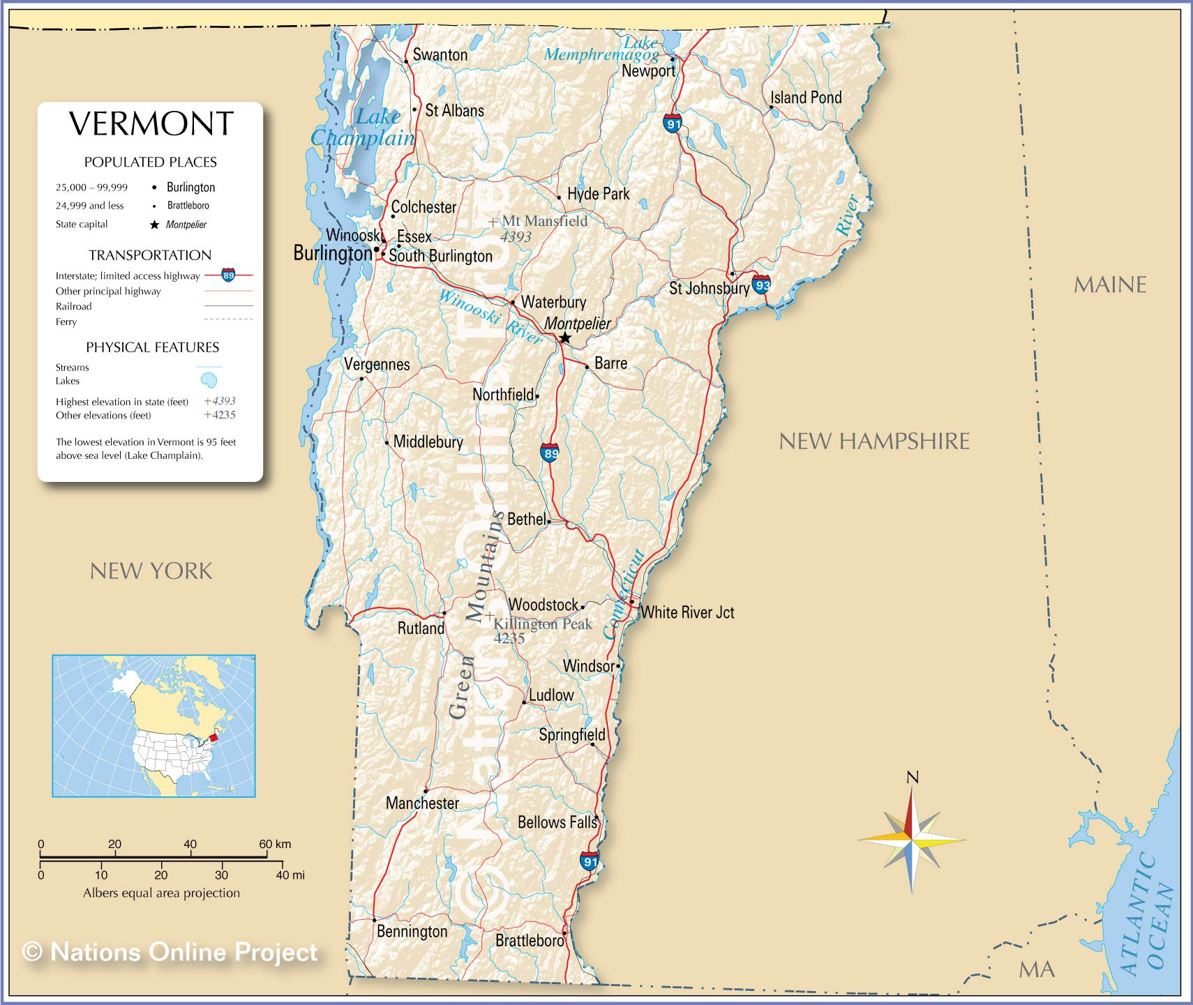 Reference Maps Of Vermont Usa Nations Online Project