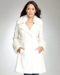 Bebe Double Belted Faux Fur Cuff Coat