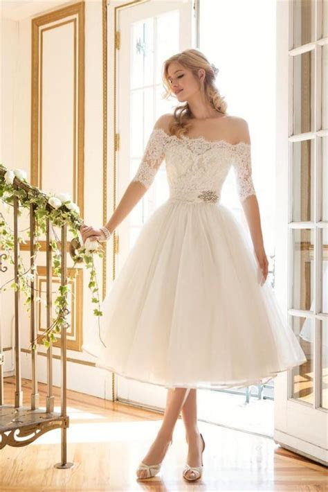 Short Off Shoulder Lace Wedding Dresses 1/2 Long Sleeve