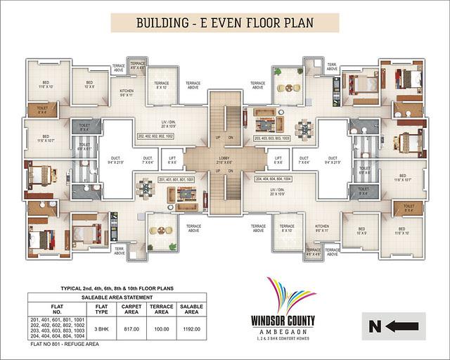 Windsor County Ambegaon Budurk - E Building - Even Floor Plan