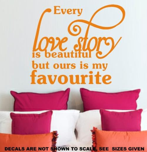 Our Love Story Romantic Quote 1 Wall Art Sticker Lrg Vinyl Decal