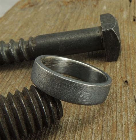 recycled rustic men's wedding band. Gearhead style