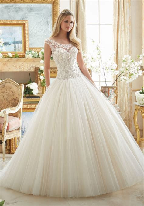 crystal beaded embroidery  tulle ball gown style