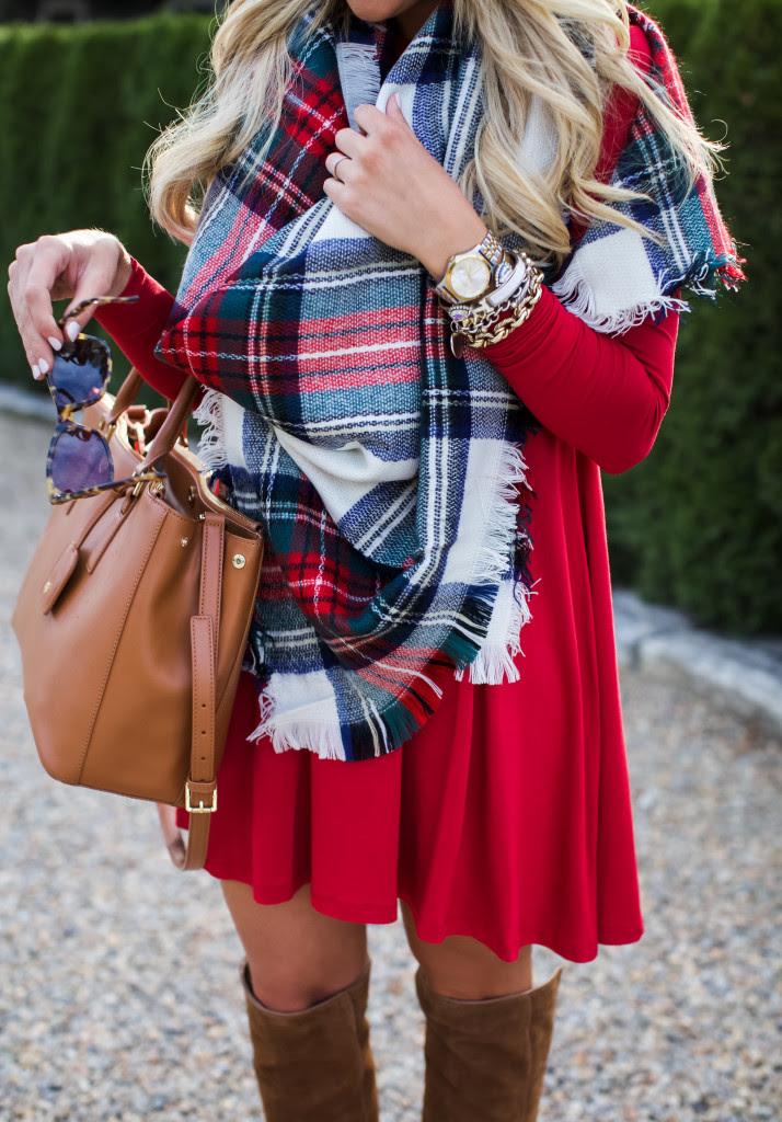 outfit  christmas plaid scarf  shop dandy  a florida