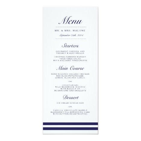 Nautical Navy Wedding Dinner Menu Card