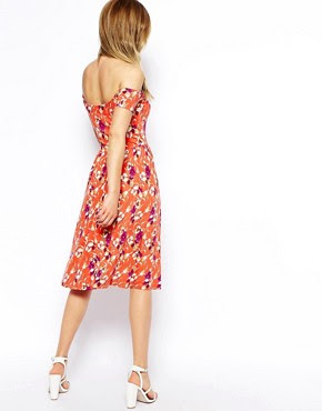 Image 2 ofASOS Midi Bardot Skater Dress in Floral Print