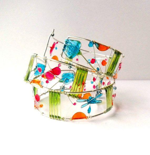 Colorful resin cuff, dragonfly bracelet, butterfly bracelet, wire bracelet, stained glass cuff, nature bracelet