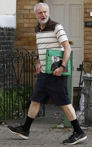 Jeremy Corbyn plots his first days as Labour leader in shorts and t-shirt