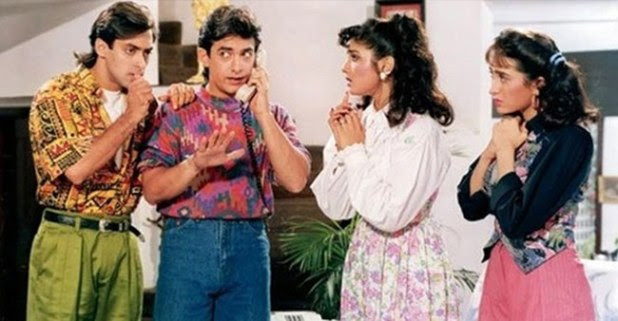 Throwback Picture: 'Weird Ego Issues' Between Aamir, Salman, Karishma and Raveena on the sets of Andaz Apna Apna