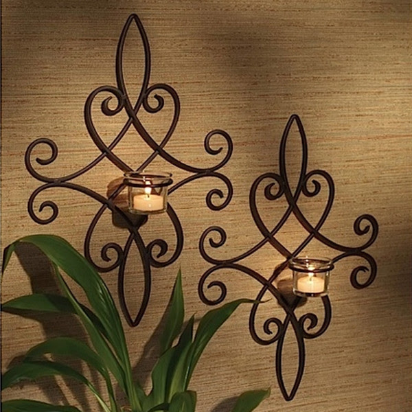 brocade candle wall sconces set of 2 mediterranean inside home decorating ideas great wall candle holders 15 Chic Wrought Iron Wall Candle Holders You Will Admire