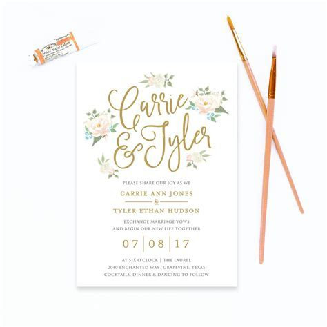 watercolor floral wedding invitation ? Peach Paper & Design
