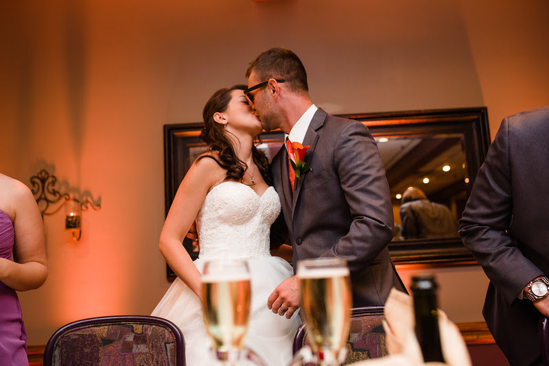 A wedding reception at the Hoffman House in Rockford, IL right of the highway with fall/autumn inspired decor for an October wedding that was held for Anna and Deven at Second/First Congregational in Downtown Rockford.