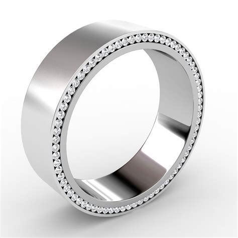 Mens Flat Satin Finish Wedding Band Side Eternity Diamonds