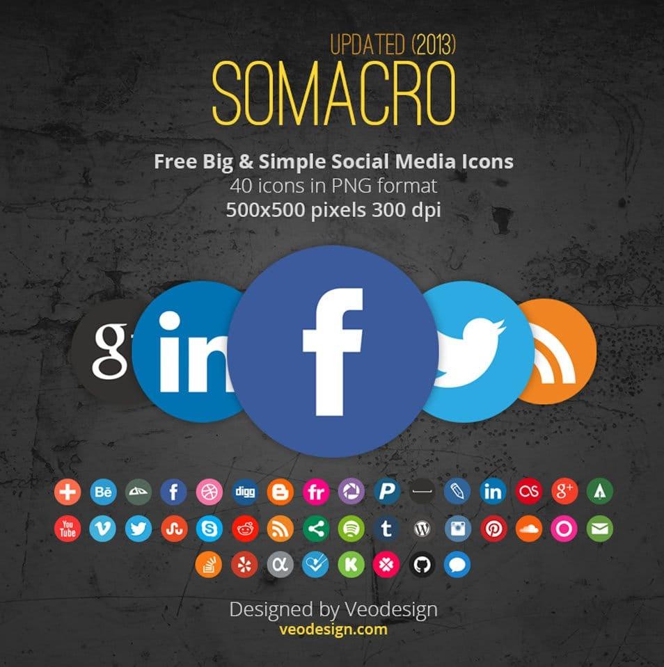 Somacro: 40 300DPI Round Social Media Icons