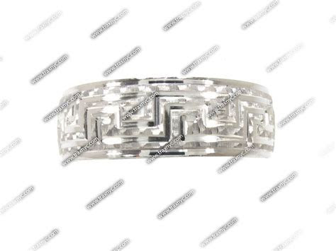 Mens Egyptian Design White Gold Wedding Ring 17364